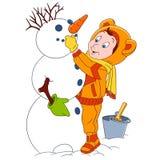 Gulligt tecknad filmbarn och en snögubbe Arkivbilder