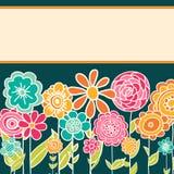 Gulligt tecknad filmhälsningkort med blommor royaltyfri illustrationer