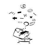 Gulligt tecknad filmklotter för vektor Affärsmannen är under spänning och att tänka med fråga Stock Illustrationer
