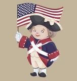 Gulligt tecknad filmtecken i Ameriacan IndependanceWar patriotkostnad Fotografering för Bildbyråer