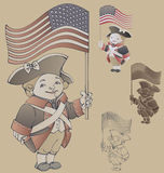 Gulligt tecknad filmtecken i Ameriacan IndependanceWar patriotkostnad Royaltyfria Foton