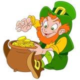 Gulligt tecknad filmtroll på Sts Patrick dag Arkivbild