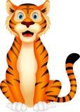 Gulligt tigertecknad filmsammanträde Arkivfoto
