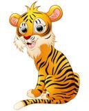 Gulligt tigertecknad filmsammanträde Arkivbild