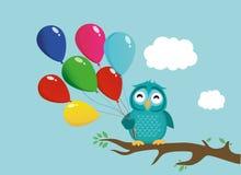 Gulligt ugglasammanträde på en filial och ett innehav många färgrika ballonger stock illustrationer