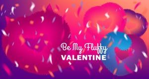 Gulligt var mitt valentinkort med rosa fluffig jäkel och hjärtor på bakgrund för diskoparti med konfettier royaltyfri illustrationer
