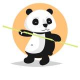 Gulligt vektortecken: panda med bambu royaltyfri bild