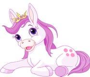 Gulligt vila för hästprinsessa stock illustrationer