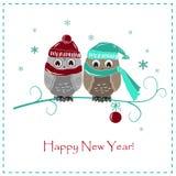 Gulligt vinterkort Två behandla som ett barn ugglor i hattar och scarves royaltyfri illustrationer