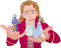 Gulliver. Holds Lilliputians on his hands Stock Image