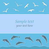 Gulls and dolphins. Vector illustration for graphic design or web design Royalty Free Stock Image