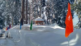 Gulmarg kashmir. Beautiful snowy look of gulmarg kashmir famous for skiing and other wintry sports stock photo