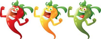 Gulna, göra grön tecknade filmen för varma peppar, rött Arkivfoto