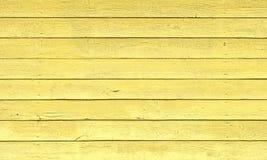 Gulna målade Wood plankor som bakgrund eller texturera Arkivfoto