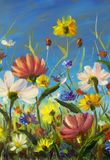 Gulna, slösa, illustrationen för lilaabstrakt begreppblommor, rött Makroimpastomålning Konstverk för palettkniv impressionism kon Arkivbilder