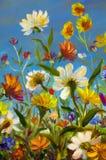 Gulna, slösa, illustrationen för lilaabstrakt begreppblommor, rött Makroimpastomålning Konstverk för palettkniv impressionism kon Royaltyfri Fotografi