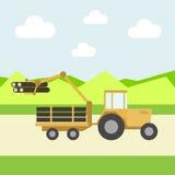 Gulna traktoren Fotografering för Bildbyråer