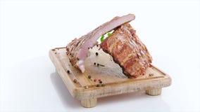 Guloseimas da carne isoladas no branco filme