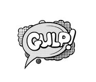 Pop art style sticker. Gulp, word in speech bubble patch badge. Comic book style vector sticker, pin, patch in cartoon 80s-90s comic style Stock Photo