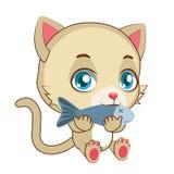 Gult äta för katt stock illustrationer