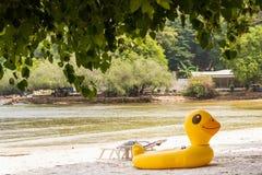 Gult andbadrör på den uppblåsbara anden för strand Fantasibad Arkivbild