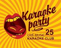 Gult baner för klubba med sjungande karaoke för mun stock illustrationer