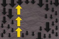 Gult begrepp för pilpappersledarskap vektor illustrationer