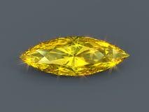 Gult diamantmarquisesnitt Arkivbilder