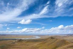 Gult flodlandskap royaltyfri fotografi