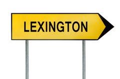 Gult gatabegreppstecken Lexington som isoleras på vit Arkivfoto