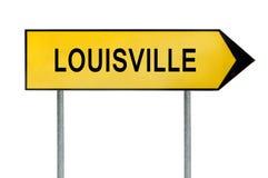 Gult gatabegreppstecken Louisville som isoleras på vit Royaltyfria Foton