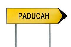 Gult gatabegreppstecken Paducah som isoleras på vit Royaltyfri Bild