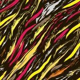 Gult, grått och karmosinrött penseldrag på svart bakgrund stock illustrationer
