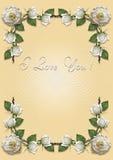 Gult hälsningkort med ramen av vita rosor Royaltyfria Bilder