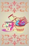 Gult kaffe rånar med choklad och kakan Arkivfoto