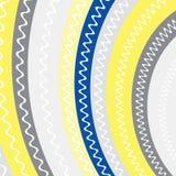 Gult mörkt - blåa gråa färgband med vita linjer inom bakgrund Gul, grå och blå färg för abstrakt bandbakgrund stock illustrationer