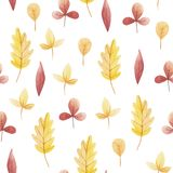 Gult och rött blad av den sömlösa modellen för vattenfärg Hello November, Oktober, September royaltyfri illustrationer