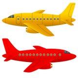 Gult och rött flygplan Stock Illustrationer