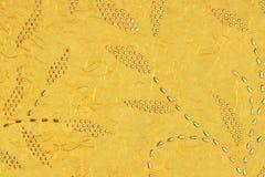 Gult orange guld- Amber Citrine Color Mulberry Handmade papper B Arkivfoton