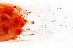 Gult - orange vattenfärgfläck på den vita bakgrundsvattenfärgen Abstrakt begrepp grunge foto stock illustrationer