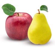 Gult päron och rött äpple med bladet royaltyfri fotografi