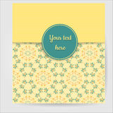 Gult retro hälsningkort Royaltyfri Foto