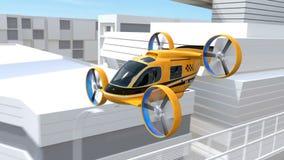 Gult Själv-körande flyg för passageraresurrtaxi till och med huvudvägen stock illustrationer