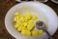 Gult smör arkivfoto
