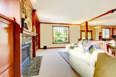 Gult stort lyxigt vardagsrum med royaltyfri fotografi