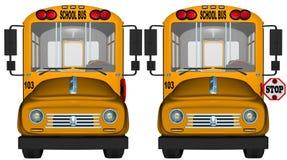 Gult tecken för skolbussstopp Arkivfoton
