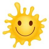 Gult tecken för smileyframsidafärgstänk Fotografering för Bildbyråer