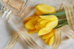 Gult tulpan-, doft- och guldband Royaltyfria Foton