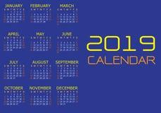 Gult vitt textnummer för kalender 2019 på blå bakgrundsvektor stock illustrationer