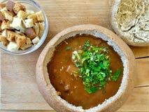 Gulyas soppa i ett bröd fotografering för bildbyråer